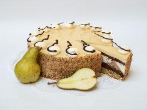 aufgeschnittene Birnen Torte