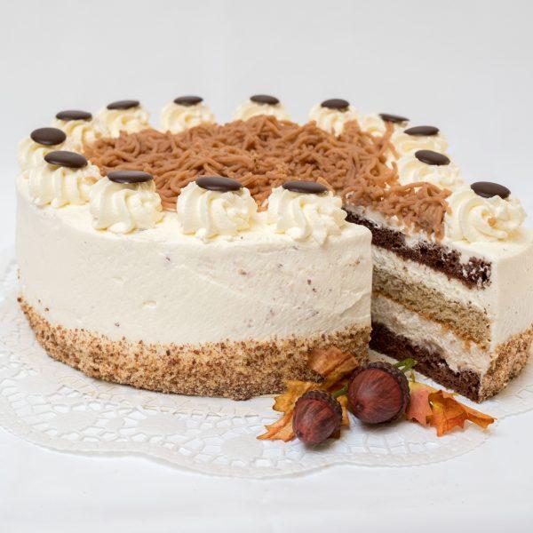 aufgeschnittene Maroni Torte