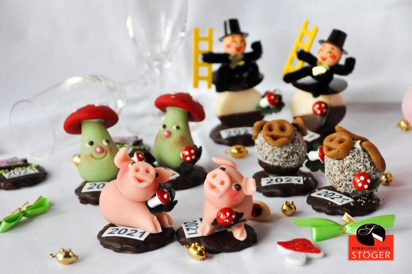 Essbare Schweinchen, Pilze und Rauchfangkehrer Silvesterfiguren